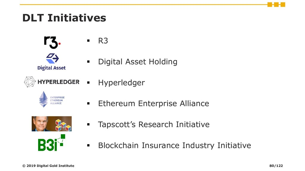 DLT Initiatives ▪ R3 ▪ Digital Asset Holding ▪ ...