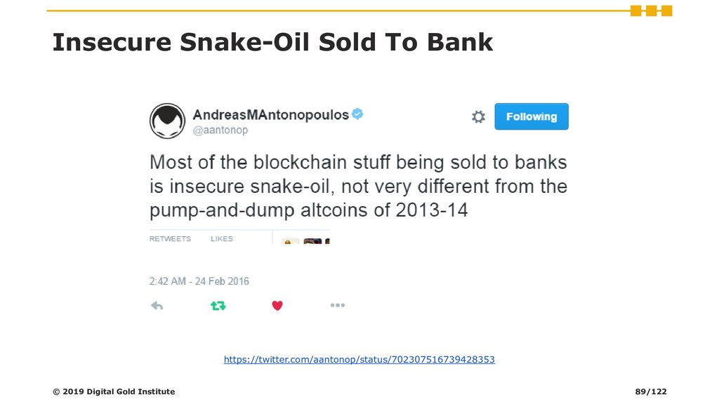 Insecure Snake-Oil Sold To Bank © 2019 Digital ...