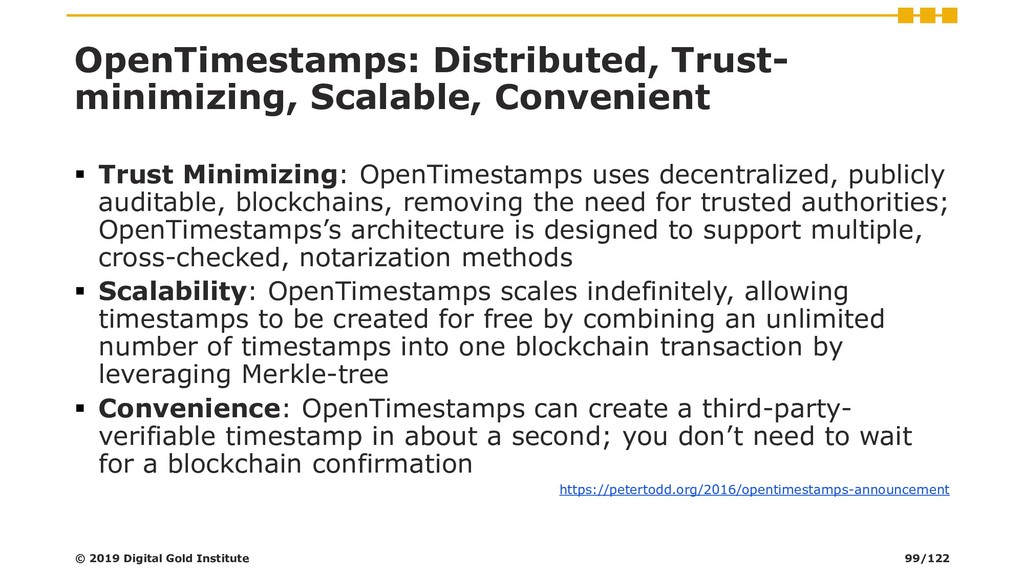 OpenTimestamps: Distributed, Trust- minimizing,...