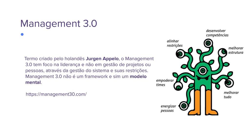 Management 3.0 Termo criado pelo holandês Jurge...