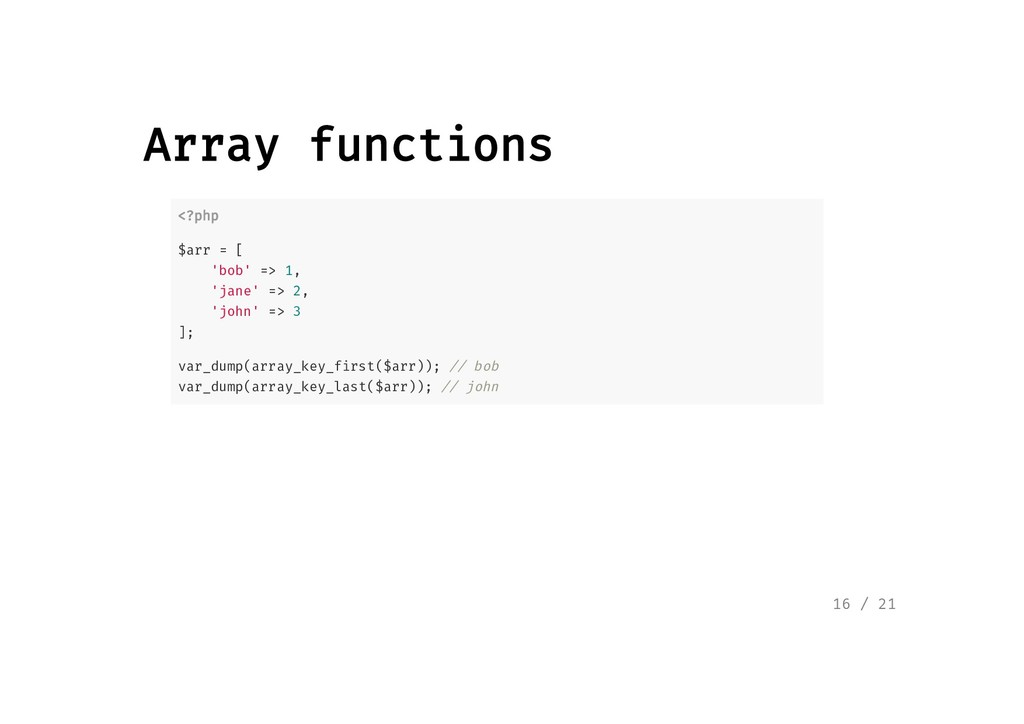 Array functions Array functions <?php <?php $ar...