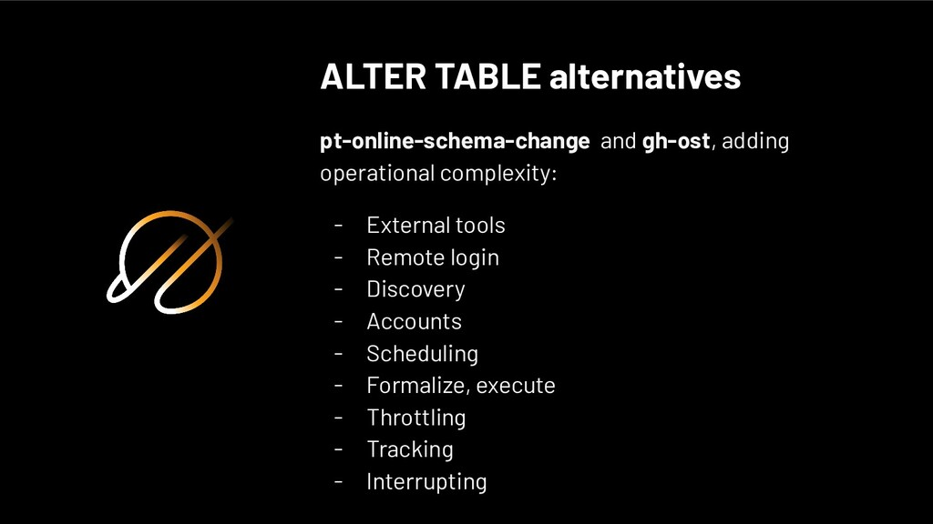 ALTER TABLE alternatives pt-online-schema-chang...