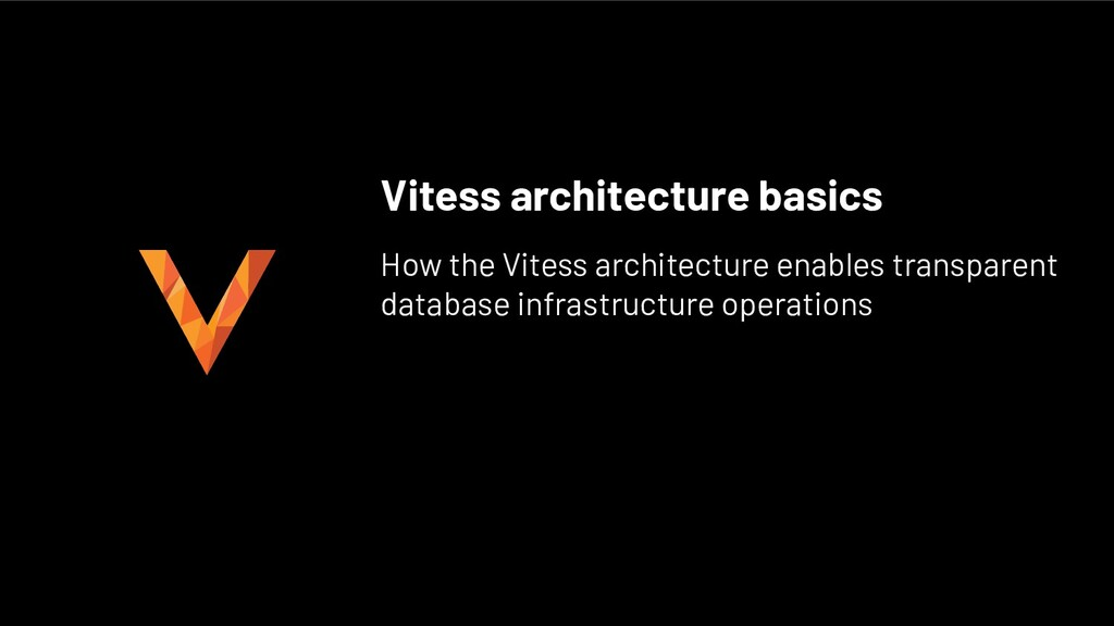 Vitess architecture basics How the Vitess archi...