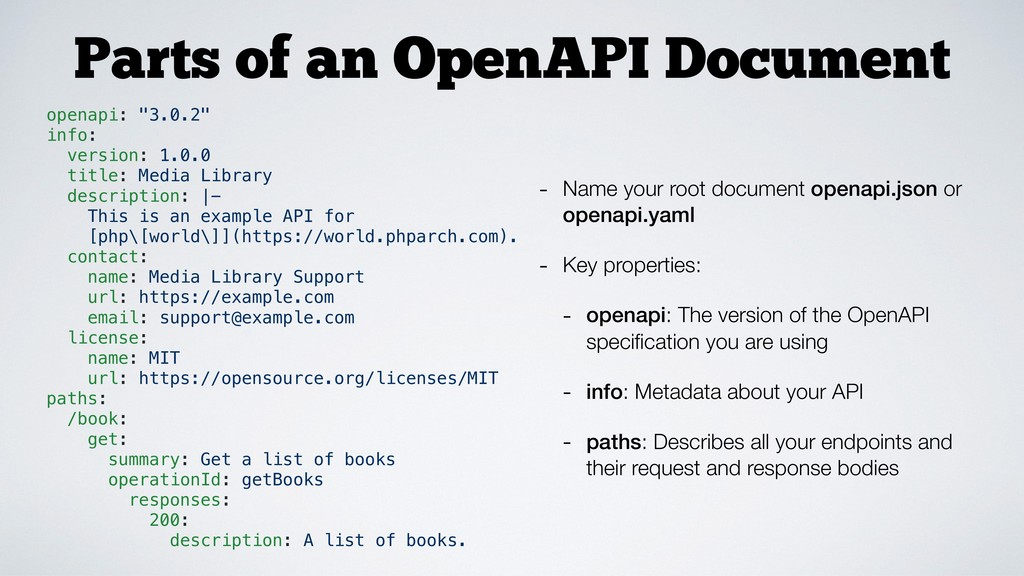 Parts of an OpenAPI Document - Name your root d...