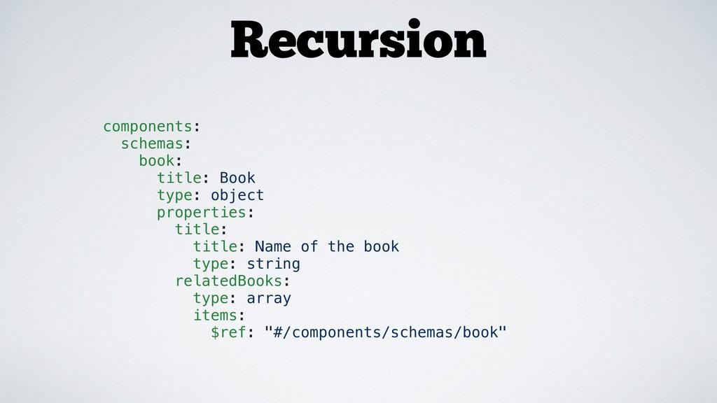 Recursion components: schemas: book: title: Boo...