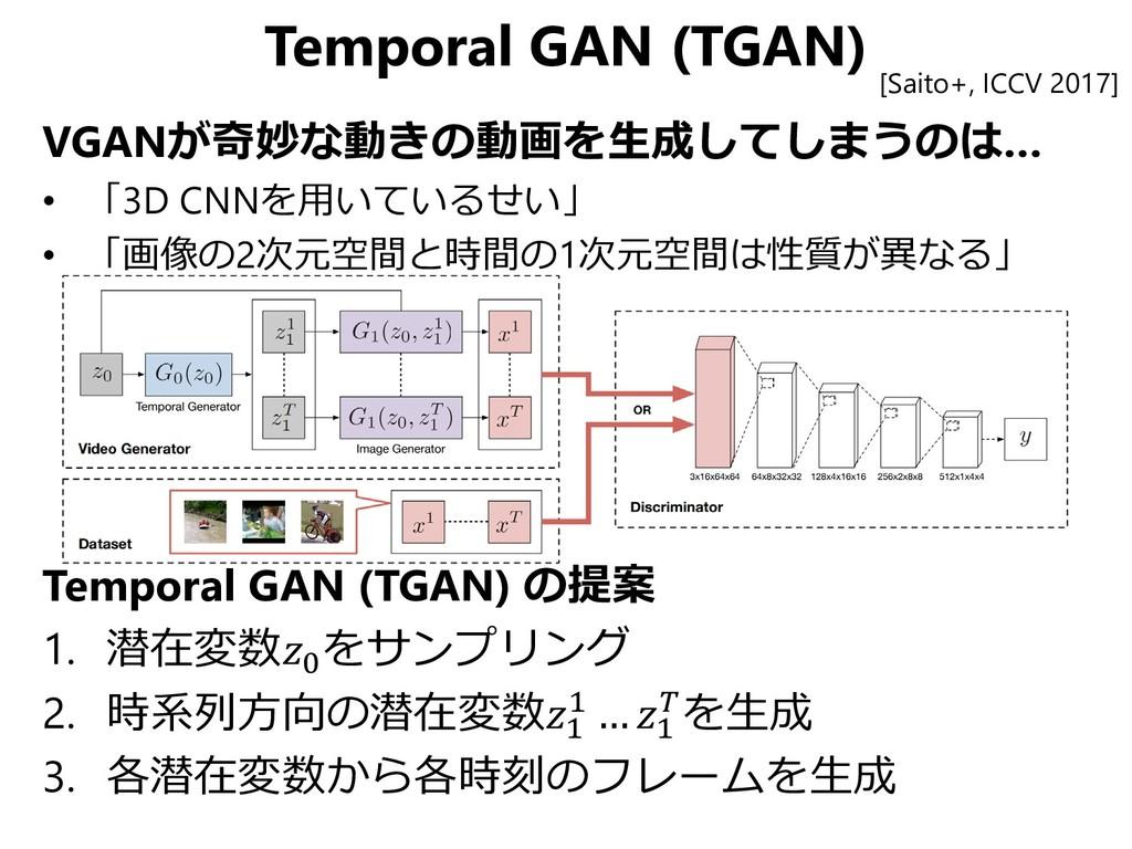 Temporal GAN (TGAN) [Saito+, ICCV 2017] VGANが奇妙...