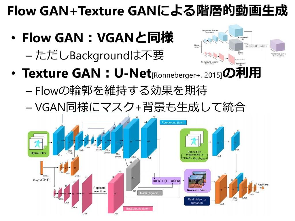 Flow GAN+Texture GANによる階層的動画生成 • Flow GAN:VGANと...