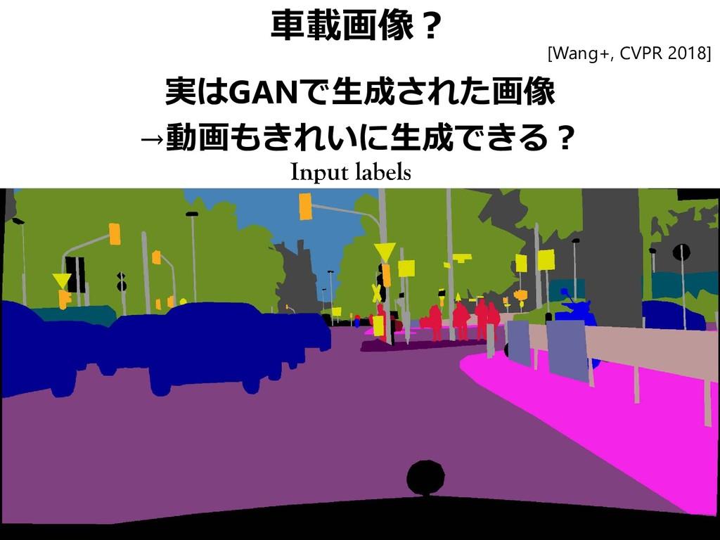車載画像? 実はGANで生成された画像 →動画もきれいに生成できる? [Wang+, CVPR...