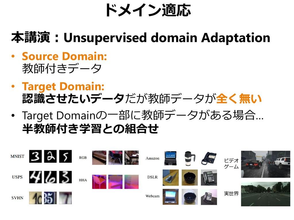 ドメイン適応 本講演:Unsupervised domain Adaptation • Sou...
