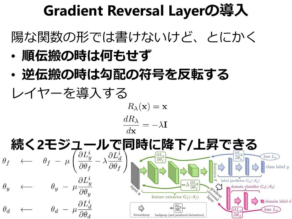 Gradient Reversal Layerの導入 陽な関数の形では書けないけど、とにかく ...
