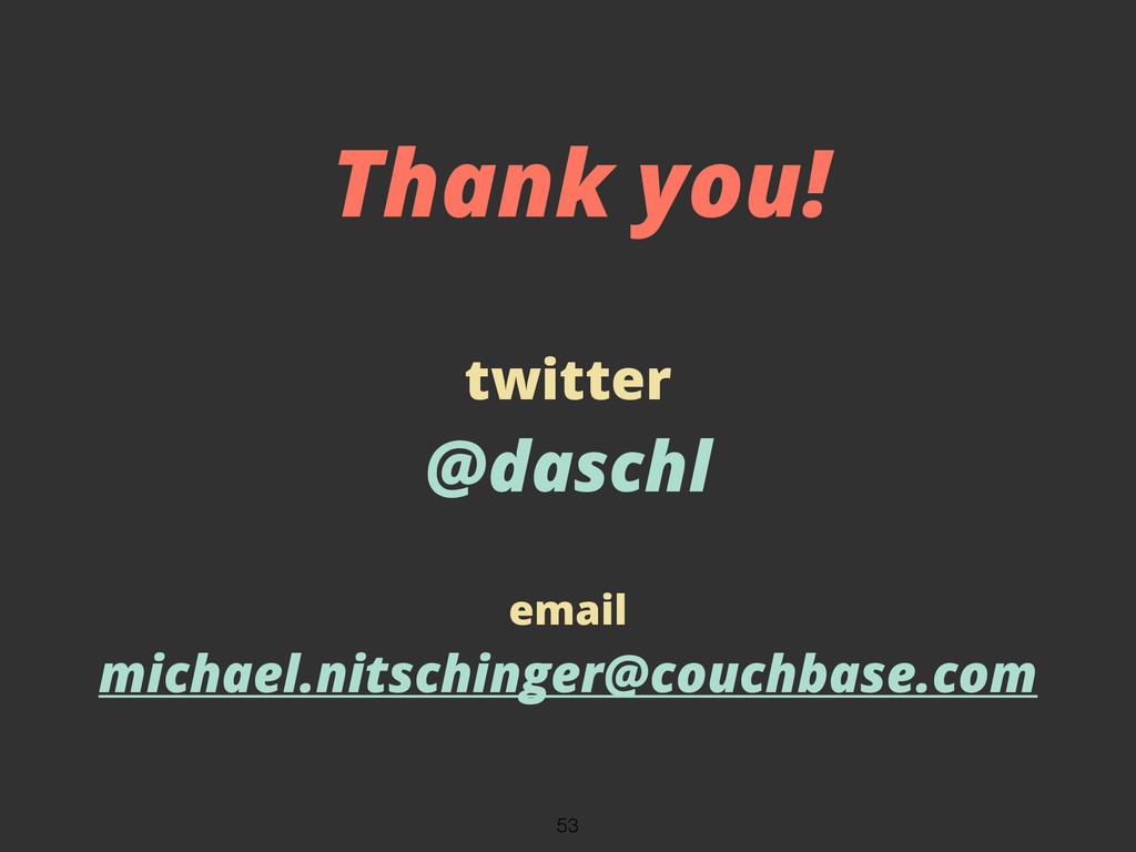 twitter @daschl email michael.nitschinger@couch...