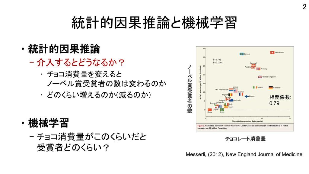 統計的因果推論と機械学習 •統計的因果推論 – 介入するとどうなるか? • チョコ消費量を変え...