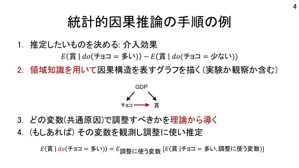 統計的因果推論の手順の例 1. 推定したいものを決める: 介入効果 2. 領域知識を用いて因果...