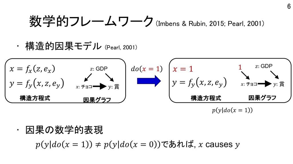 数学的フレームワーク (Imbens & Rubin, 2015; Pearl, 2001) ...