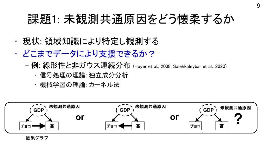 課題1: 未観測共通原因をどう懐柔するか • 現状: 領域知識により特定し観測する • どこま...
