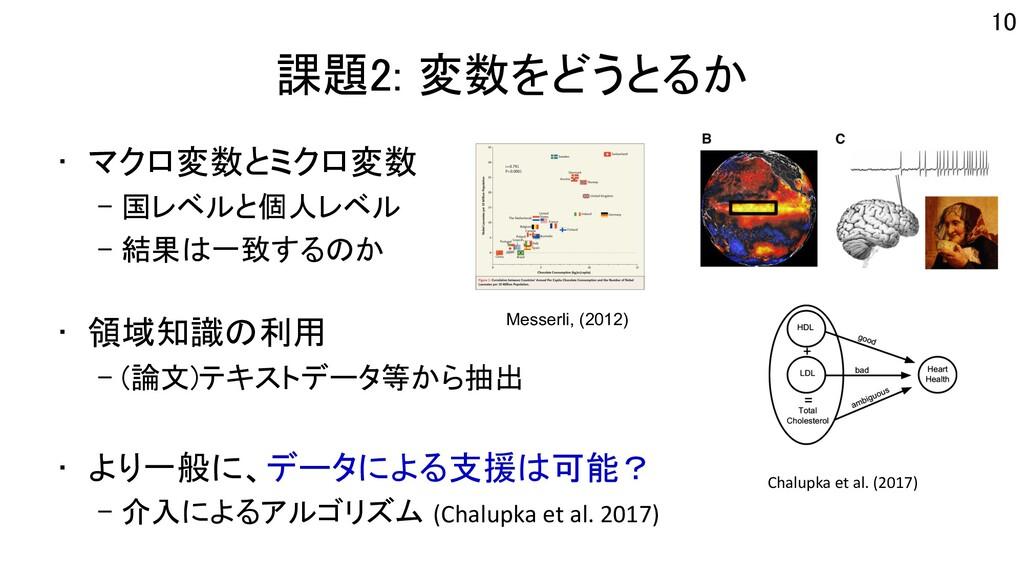 課題2: 変数をどうとるか • マクロ変数とミクロ変数 – 国レベルと個人レベル – 結果は一...