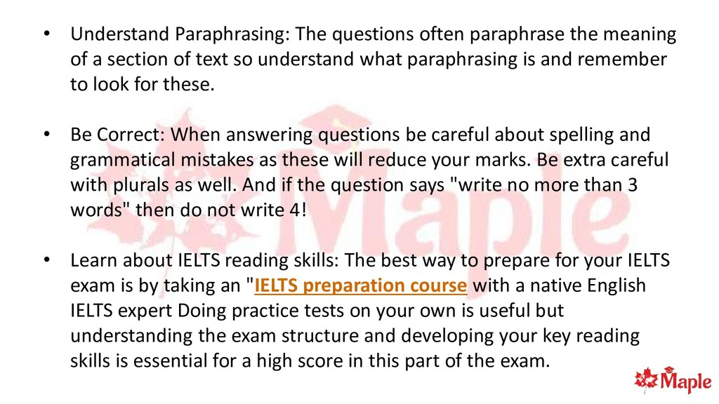 • Understand Paraphrasing: The questions often ...