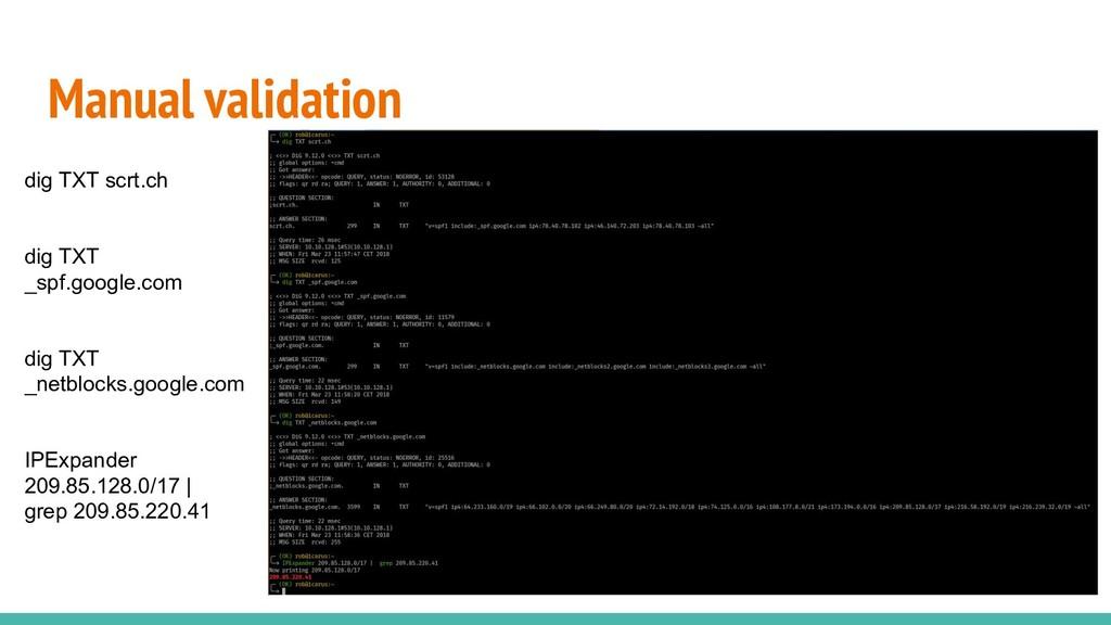 Manual validation dig TXT scrt.ch dig TXT _spf....