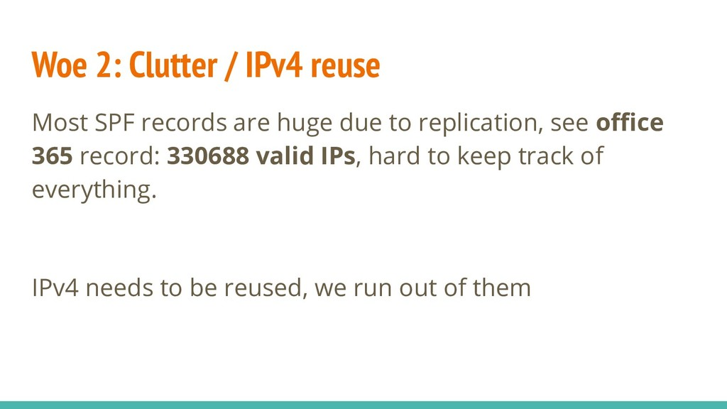 Woe 2: Clutter / IPv4 reuse Most SPF records ar...