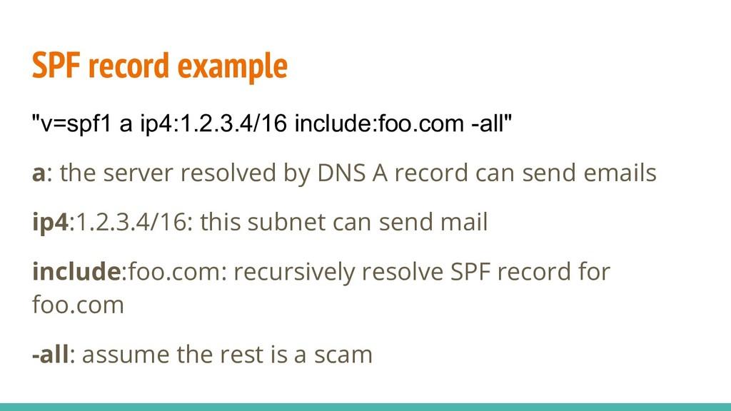 "SPF record example ""v=spf1 a ip4:1.2.3.4/16 inc..."