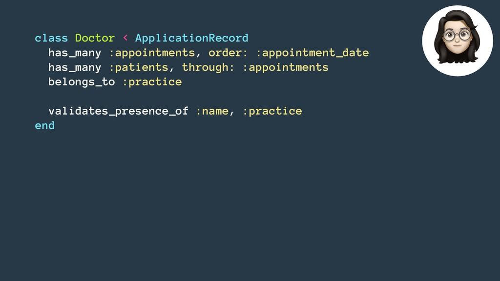 class Doctor < ApplicationRecord has_many :appo...