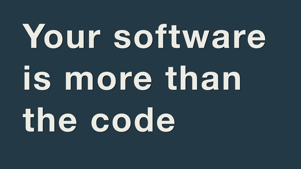 Your software is more than the code