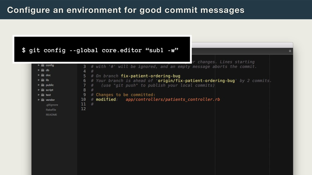 Configure an environment for good commit messag...