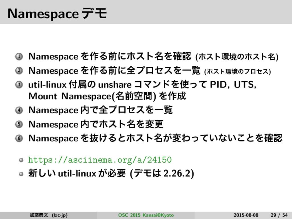 NamespaceσϞ 1 Namespace Λ࡞Δલʹϗετ໊Λ֬ (ϗετڥͷϗετ...