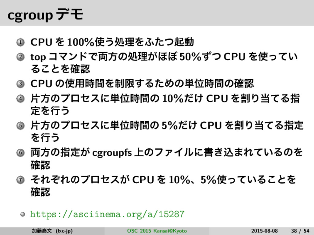 cgroupσϞ 1 CPU Λ 100%͏ॲཧΛ;ͨͭىಈ 2 top ίϚϯυͰ྆ํͷॲ...