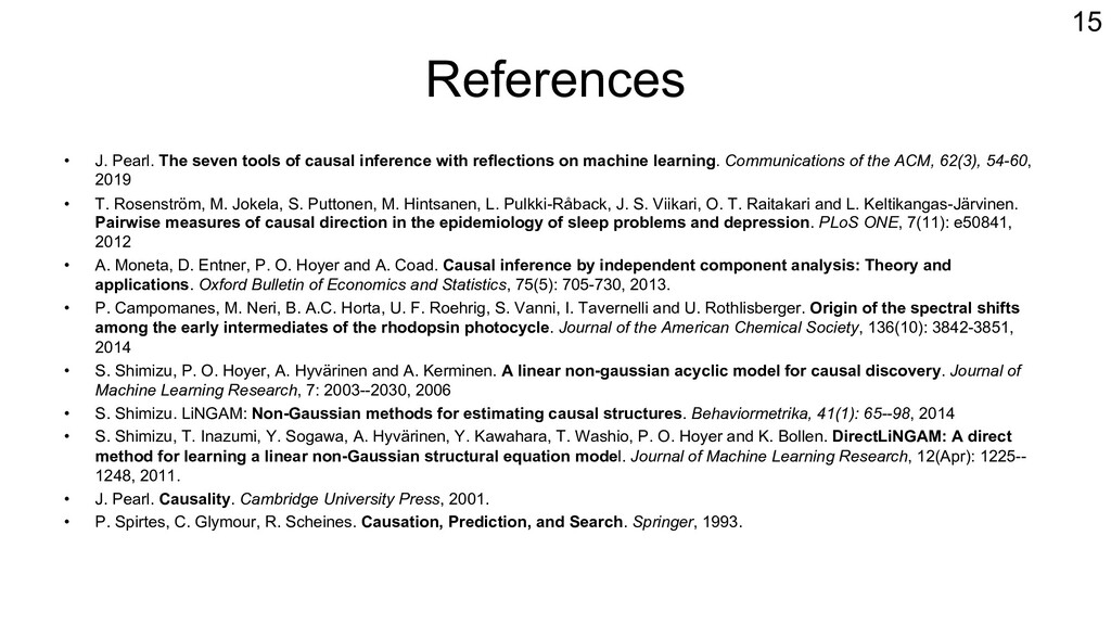 References • J. Pearl. The seven tools of causa...