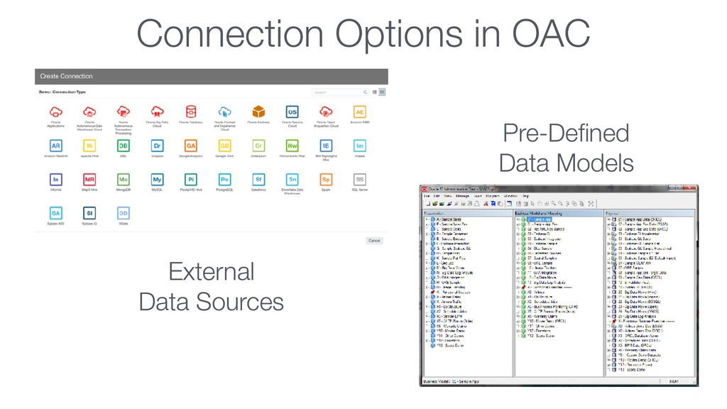 Connection Options in OAC Pre-Defined Data Model...