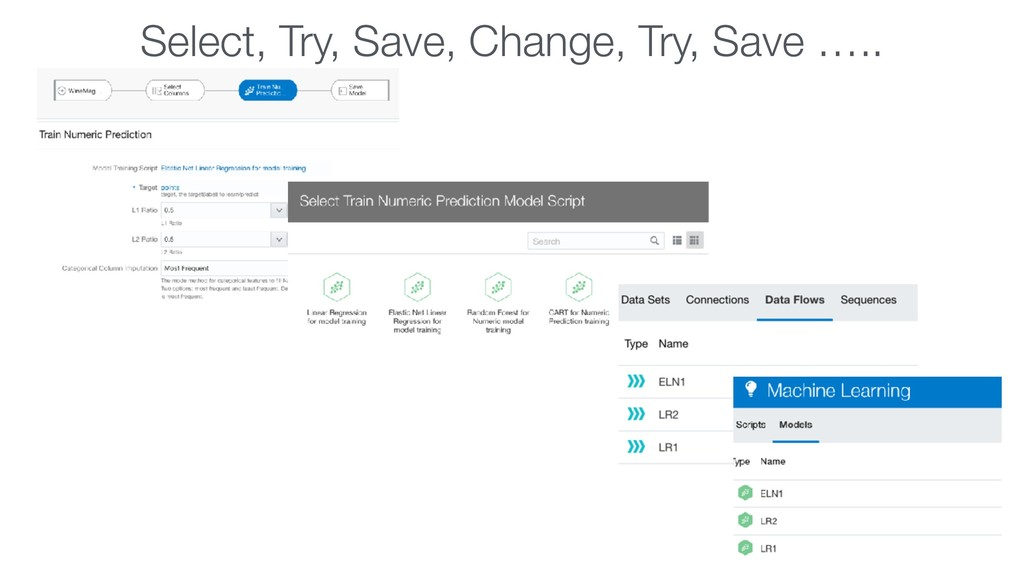 Select, Try, Save, Change, Try, Save …..