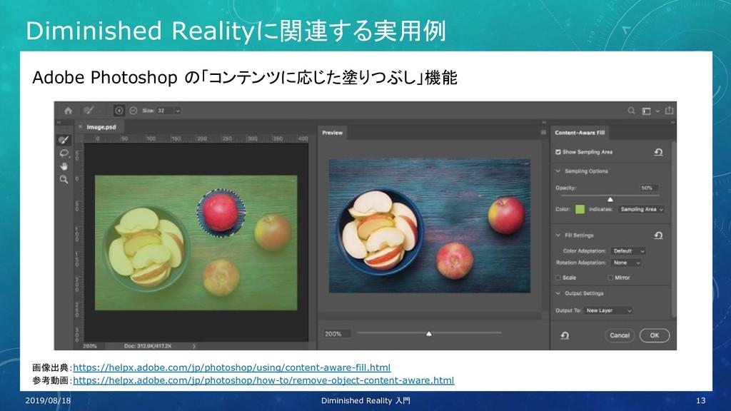 Diminished Realityに関連する実用例 Adobe Photoshop の「コン...