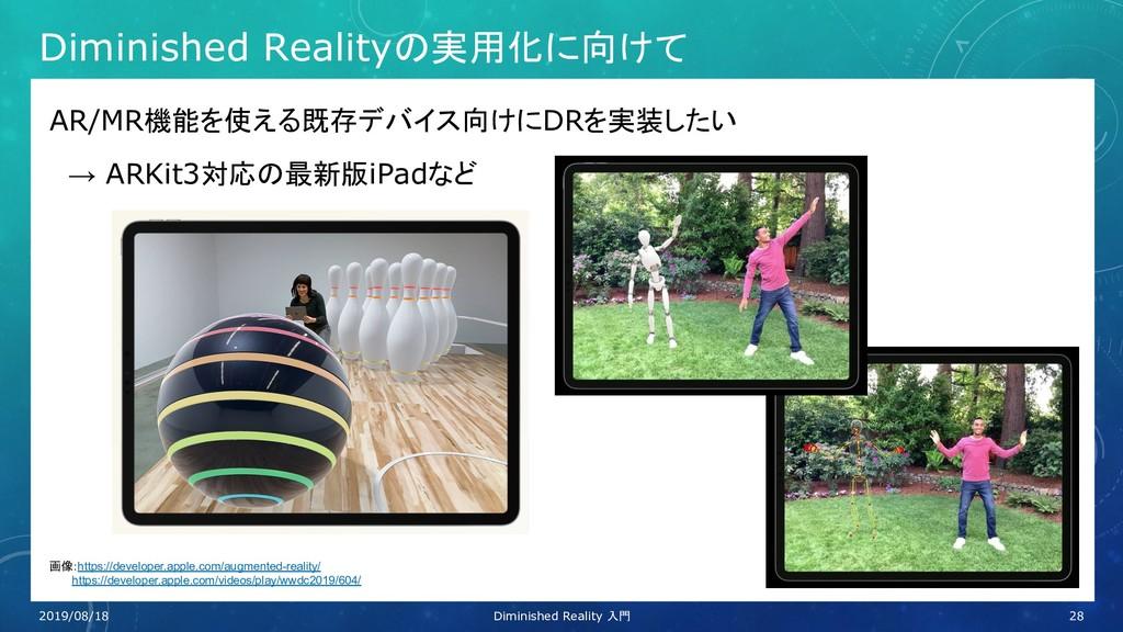 Diminished Realityの実用化に向けて AR/MR機能を使える既存デバイス向けに...