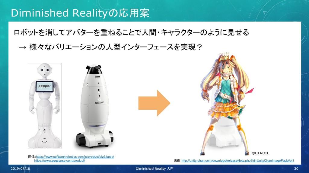 Diminished Realityの応用案 ロボットを消してアバターを重ねることで人間・キャ...
