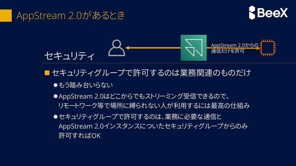 AppStream 2.0があるとき ◼ セキュリティグループで許可するのは業務関連のものだけ...
