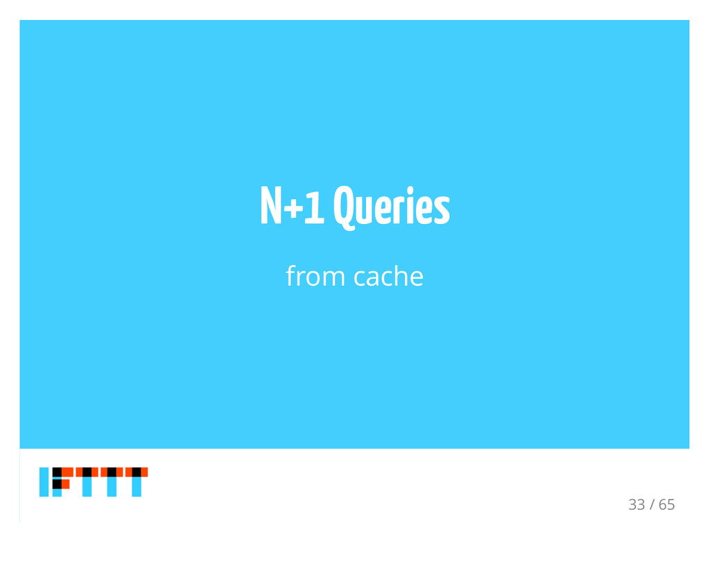 N+1 Queries from cache 33 / 65