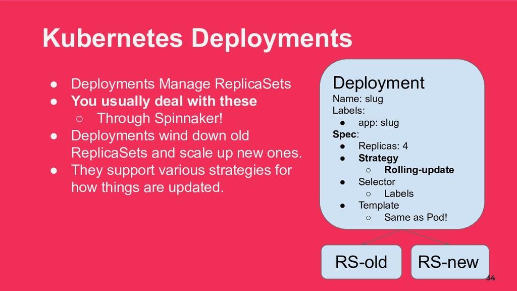 34 Kubernetes Deployments ● Deployments Manage ...