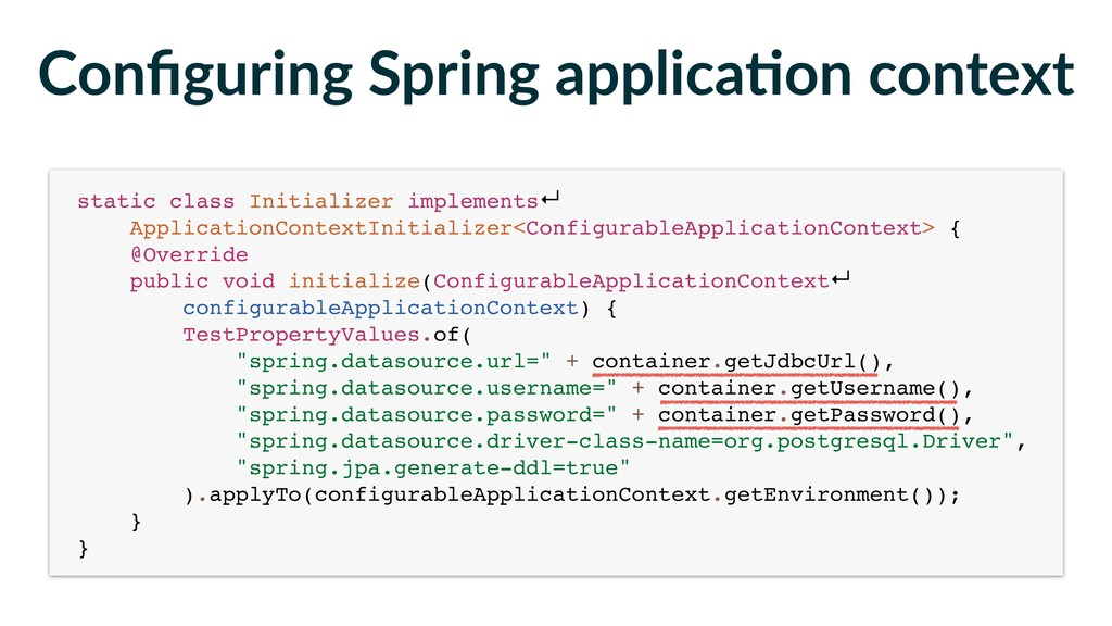 Configuring Spring applica-on context static cla...