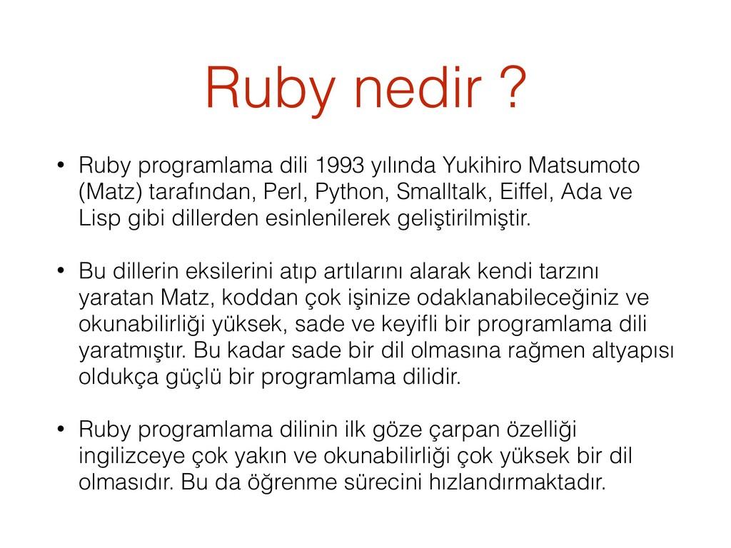 Ruby nedir ? • Ruby programlama dili 1993 yılın...