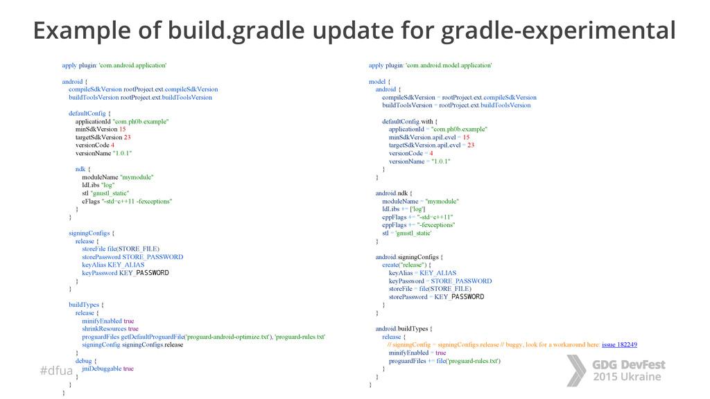 #dfua Example of build.gradle update for gradle...