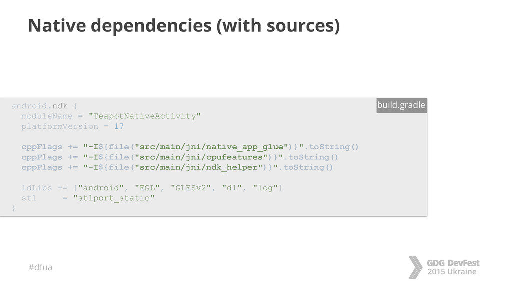 #dfua Native dependencies (with sources) androi...