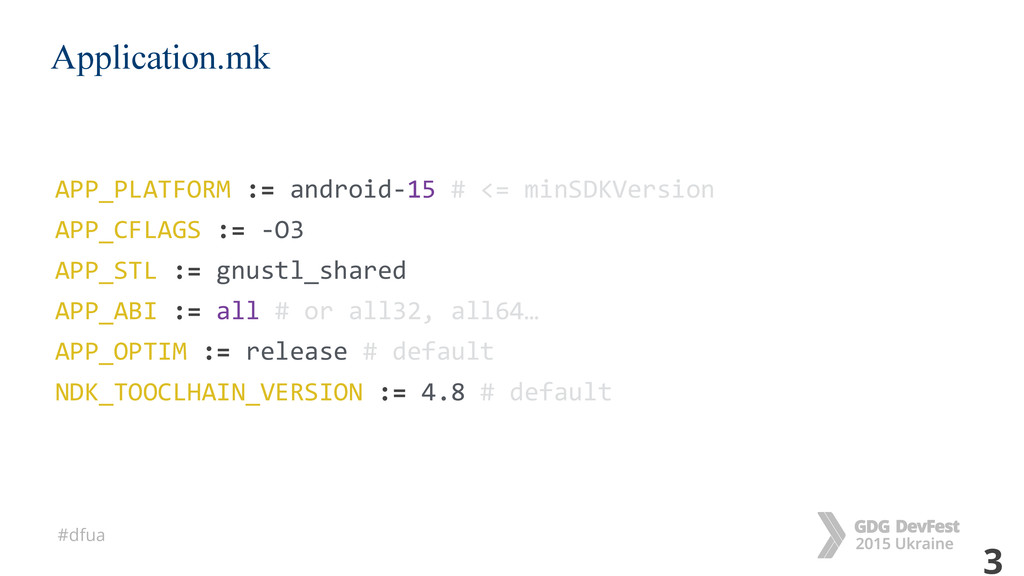#dfua 3 Application.mk APP_PLATFORM := android-...