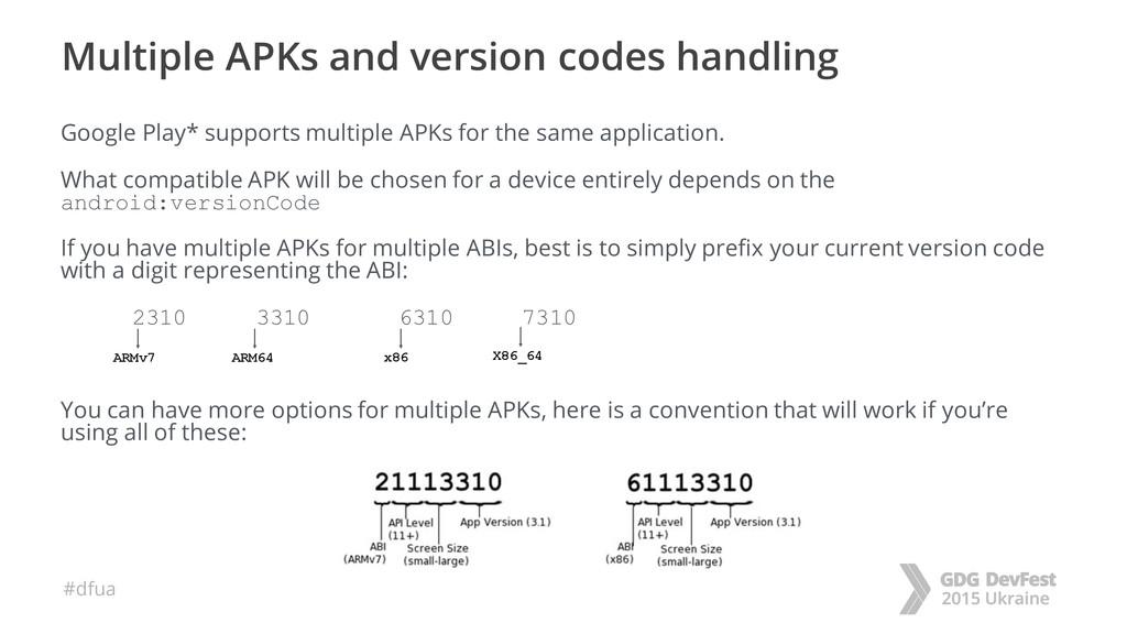 #dfua Multiple APKs and version codes handling ...