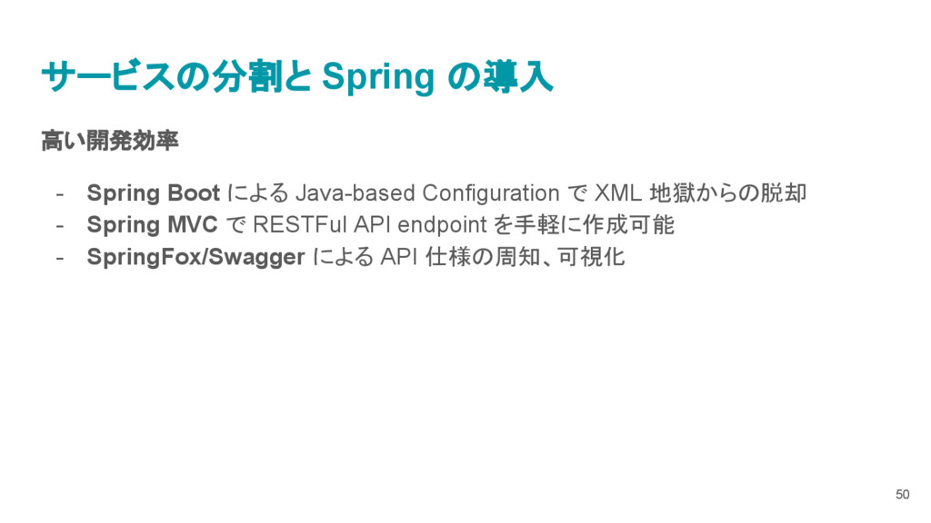高い開発効率 - Spring Boot による Java-based Configurati...