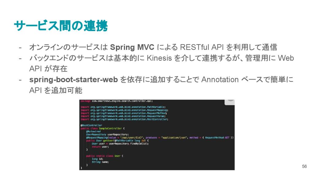 サービス間の連携 - オンラインのサービスは Spring MVC による RESTful A...