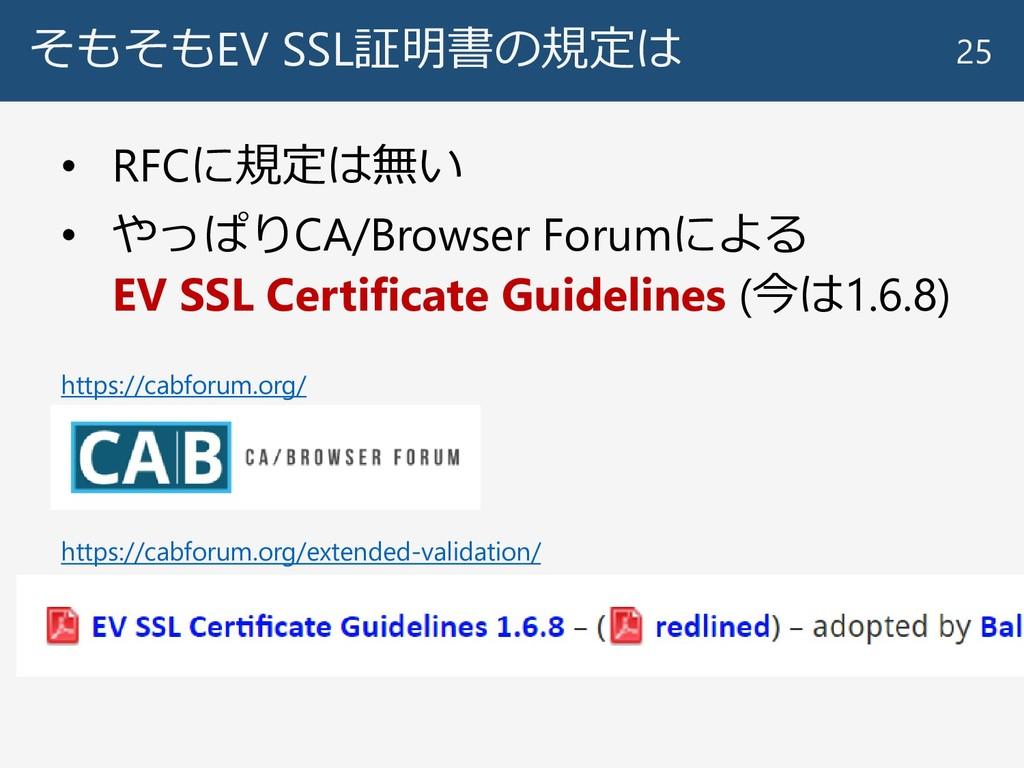そもそもEV SSL証明書の規定は 25 https://cabforum.org/ • RF...
