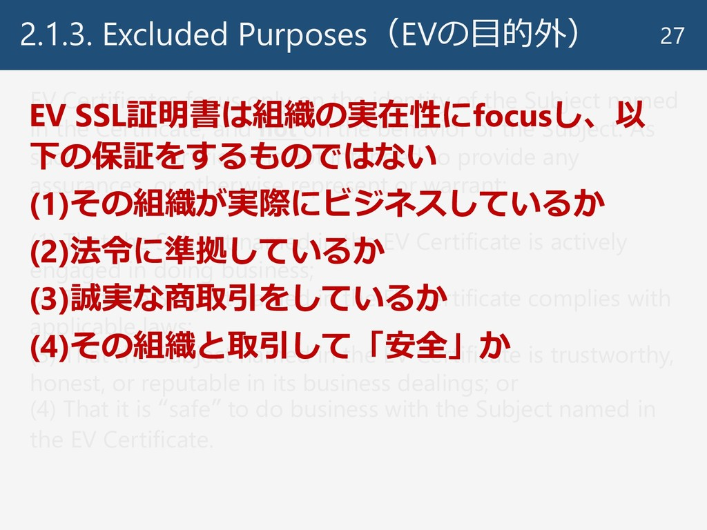 2.1.3. Excluded Purposes(EVの目的外) 27 EV Certific...