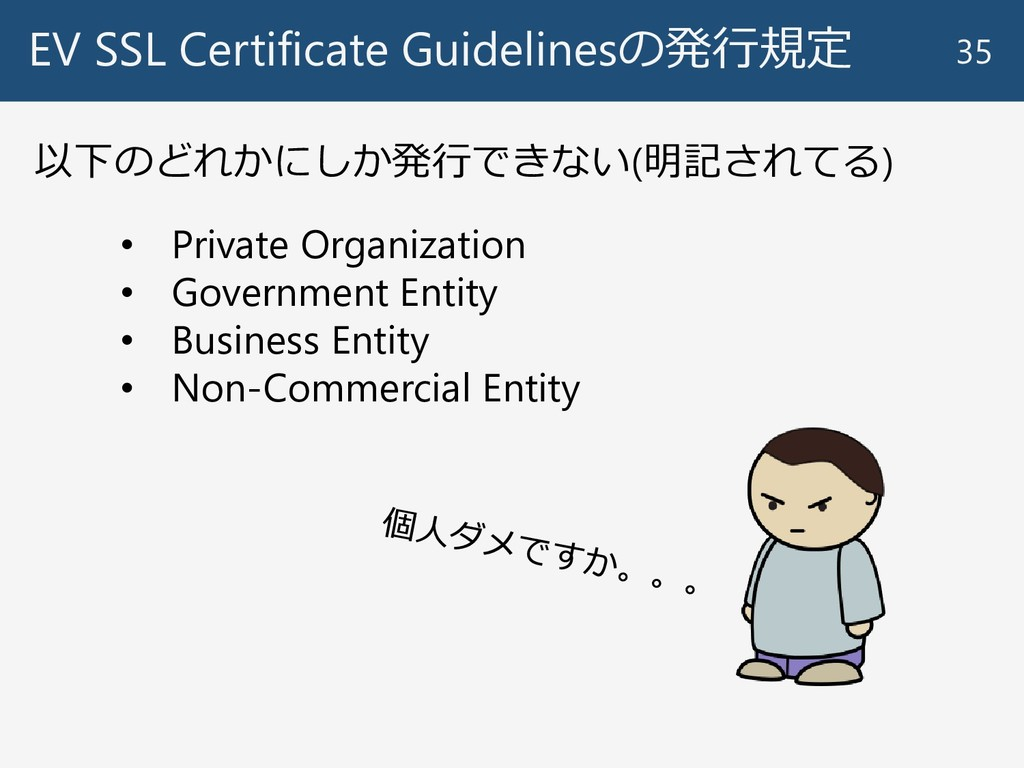 EV SSL Certificate Guidelinesの発行規定 35 以下のどれかにしか...