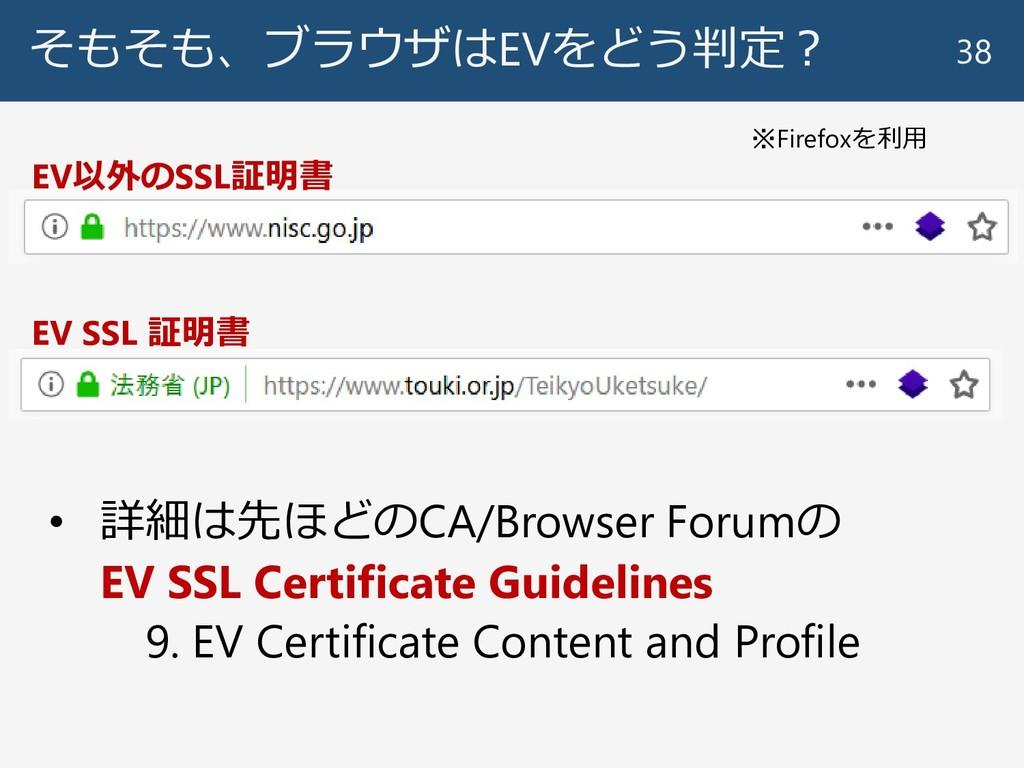 そもそも、ブラウザはEVをどう判定? 38 EV SSL 証明書 EV以外のSSL証明書 ※F...